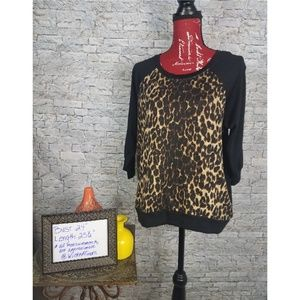 Almost Famous Leopard print 3/4 sleeve Sweater 1X